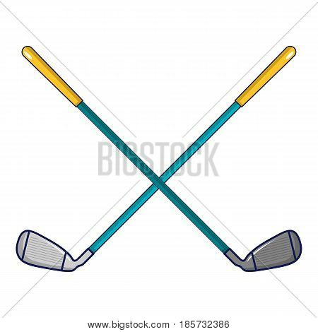 Crossed golf clubs icon. Cartoon illustration of crossed golf clubs vector icon for web