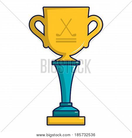 Golf cup winner gold icon. Cartoon illustration of golf cup winner gold vector icon for web