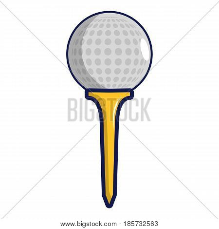 Golf ball on a yellow tee icon. Cartoon illustration of golf ball on a yellow tee vector icon for web