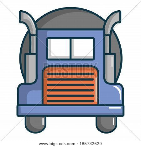 Oil tanker truck icon. Cartoon illustration of oil tanker truck vector icon for web