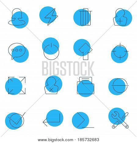 Vector Illustration Of 16 UI Icons. Editable Pack Of Accsess, Wide Monitor, Bolt And Other Elements.
