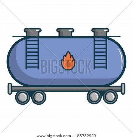 Gasoline railroad tanker icon. Cartoon illustration of gasoline railroad tanker vector icon for web