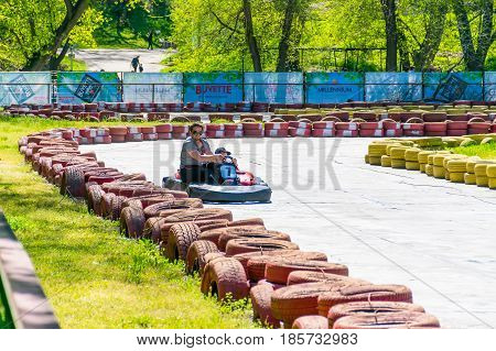 Ukraine, Dnepropetrovsk - April 29/2017: In The City Park Of Chkalov There Were Karting Competitions