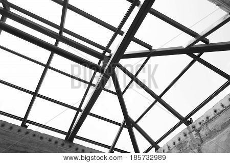 Structural steel beam on roof of building residential construction.Isolated on white background.