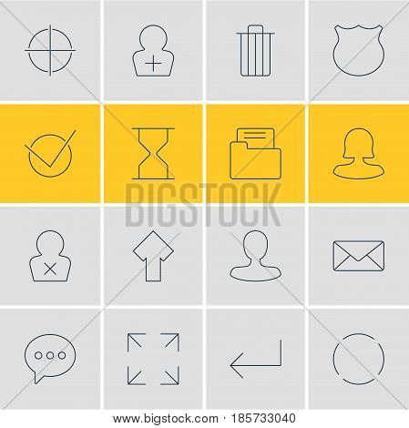 Vector Illustration Of 16 Interface Icons. Editable Pack Of Man Member, Banned Member, Wide Monitor And Other Elements.