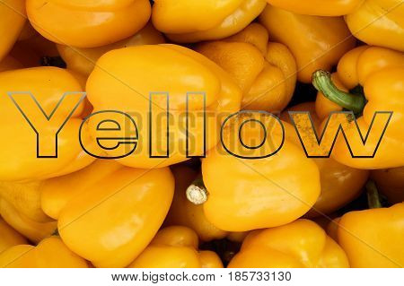 See through word Yellow on yellow peppers