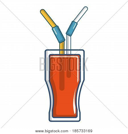Drink in a glass cup with two straws icon. Cartoon illustration of drink in a glass cup with two straws vector icon for web