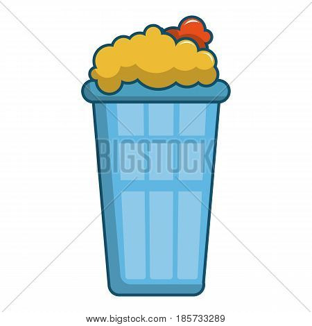 Popcorn in a blue bucket icon. Cartoon illustration of popcorn in a blue bucket vector icon for web