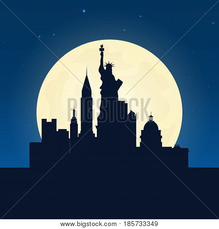 Usa Silhouette Of Attraction. Travel Banner With Moon On The Night Background. Trip To Country. Trav