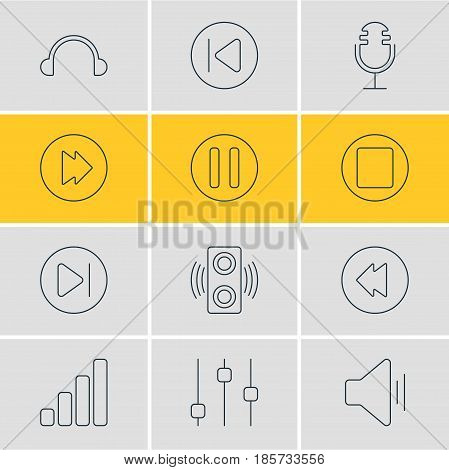 Vector Illustration Of 12 Melody Icons. Editable Pack Of Audio, Preceding, Pause And Other Elements.