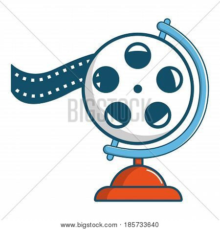 Film reel icon. Cartoon illustration of film reel vector icon for web