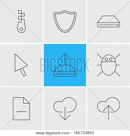 Vector Illustration Of 9 Network Icons. Editable Pack Of Removing File, Computer Virus, Pointer And Other Elements.