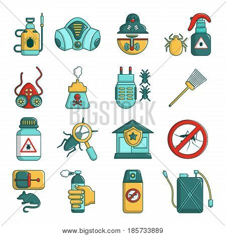 Pest control tools icons set. Cartoon illustration of 16 pest control tools, vector icons for web