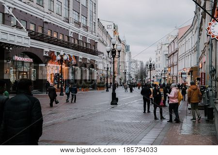 Moscow, Russia - March 28, 2017: Arbat street in Moscow at cloudy daytime