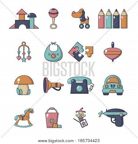 Kindergarten tools icons set. Cartoon illustration of 16 kindergarten vector icons for web