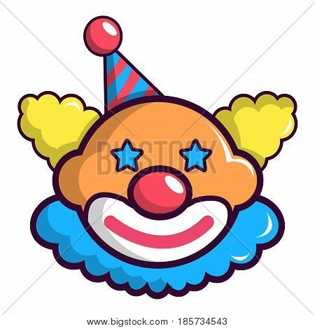 Funny clown head icon. Cartoon illustration of funny clown head vector icon for web