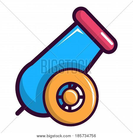 Colorful circus cannon icon. Cartoon illustration of colorful circus cannon vector icon for web