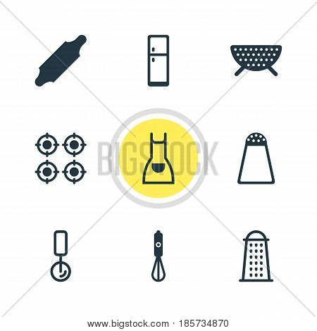 Vector Illustration Of 9 Restaurant Icons. Editable Pack Of Handmixer, Furnace, Refrigerator Elements.