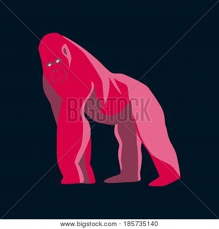 Vector illustration in flat style gorilla nature