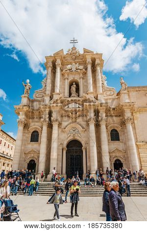 SYRACUSE, SICILY, ITALY - APRIL 26, 2017: Facade of the Cathedral of Syracuse (Duomo di Siracusa), Sicily, Italy