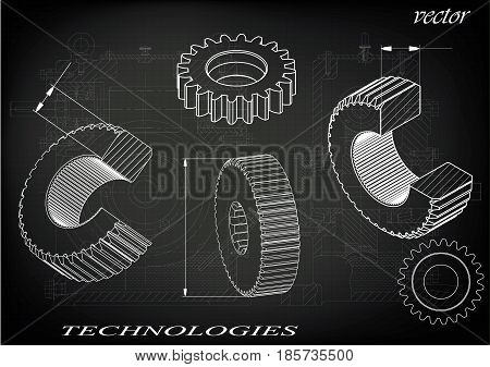 Drawings of cogwheels on a black background