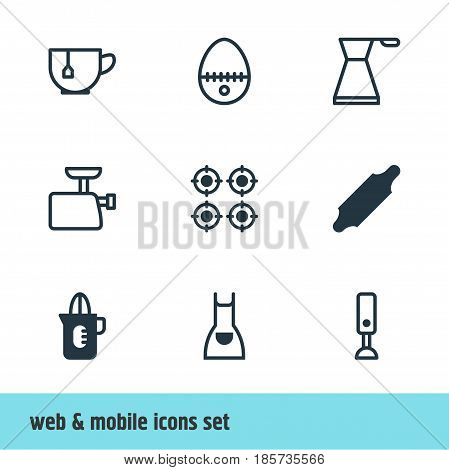 Vector Illustration Of 9 Kitchenware Icons. Editable Pack Of Shaker, Mixer, Furnace And Other Elements.
