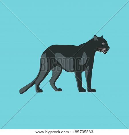 Vector illustration in flat style panther nature
