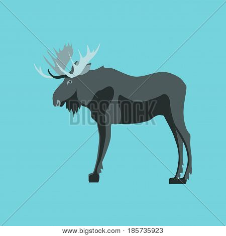 Vector illustration in flat style Elk nature
