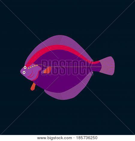 Vector illustration in flat style flatfish nature
