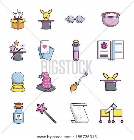 Magic trick icons set. Cartoon illustration of 16 magic trick, vector icons for web
