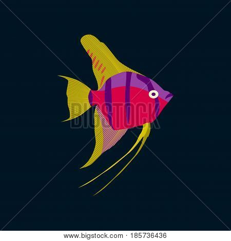 Vector illustration in flat style angelfish nature