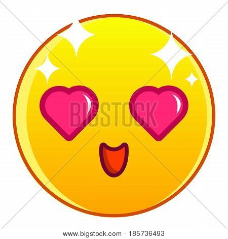 Enamored yellow emoticon icon. Cartoon illustration of enamored yellow emoticon vector icon for web