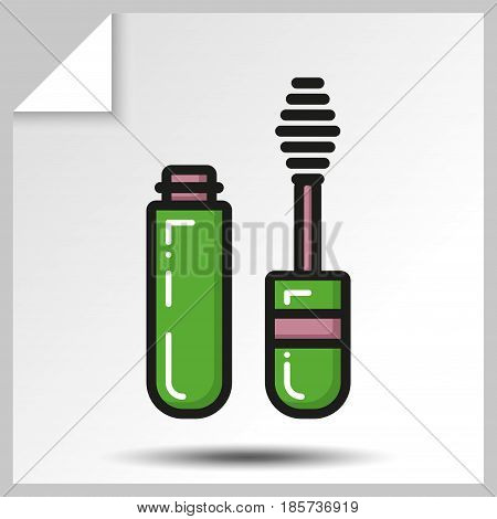 Beauty cosmetics icons-makeup mascara. Vector Isolated flat colorful illustration.