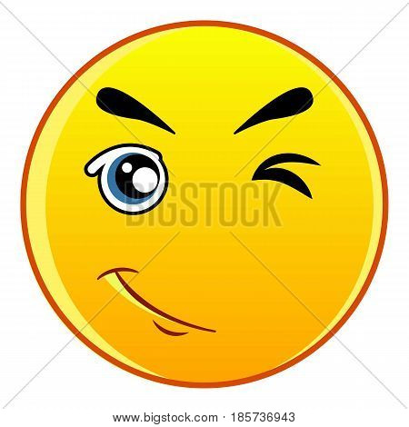 Winking yellow emoticon icon. Cartoon illustration of winking yellow emoticon vector icon for web