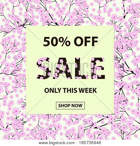 Sale vector background with seamless pattern from pink flowers.