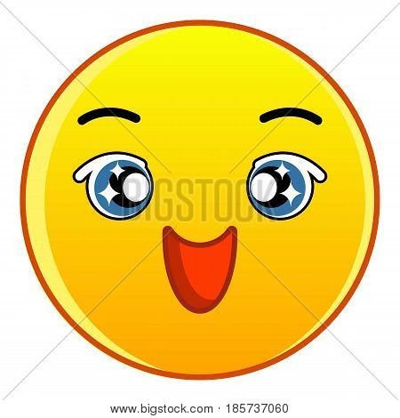 Happy yellow emoticon icon. Cartoon illustration of happy yellow emoticon vector icon for web