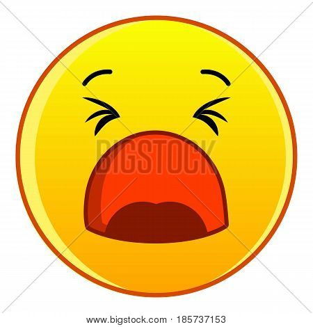Yawning yellow emoticon icon. Cartoon illustration of yawning yellow emoticon vector icon for web