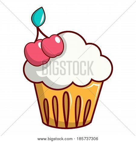 White cupcake with cherries icon. Cartoon illustration of cupcake with cherries vector icon for web