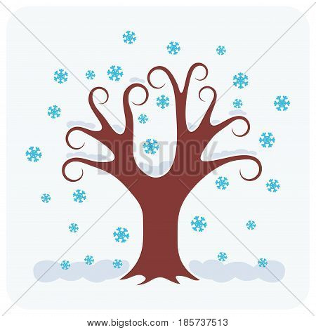 Vector illustration of a winter. One tree and snow.