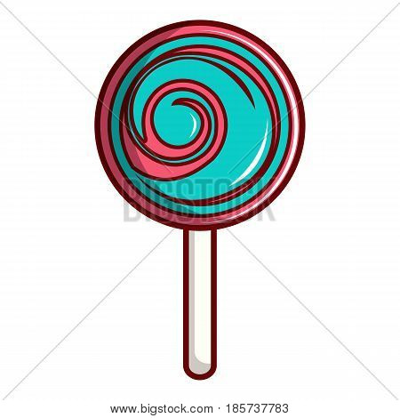 Pink and blue lollipop icon. Cartoon illustration of pink and blue lollipop vector icon for web