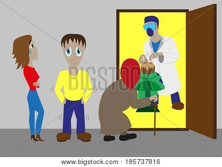 Set of flat colorful vector dentist office interior with dental chair, dentist, patient