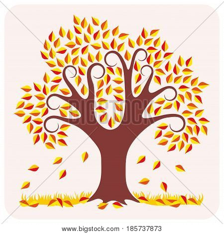Vector illustration of a autumn. One tree with yellow leaves and grass.