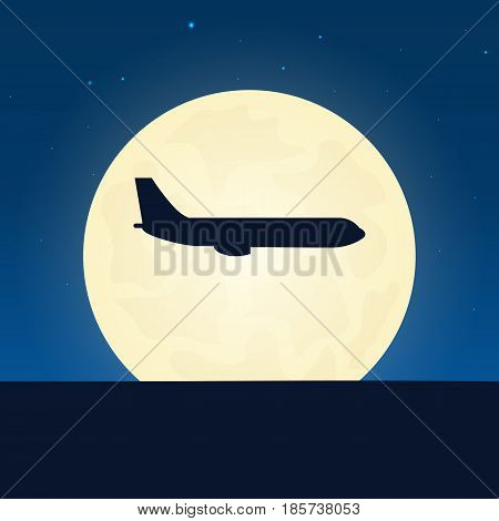 Airplane Silhouette. Banner With Moon On The Night Background. Vector Illustration.