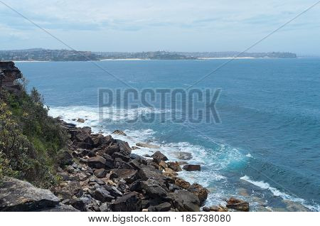 along south pacific coast in manly and shelly headland lower lookout in new south wales australia
