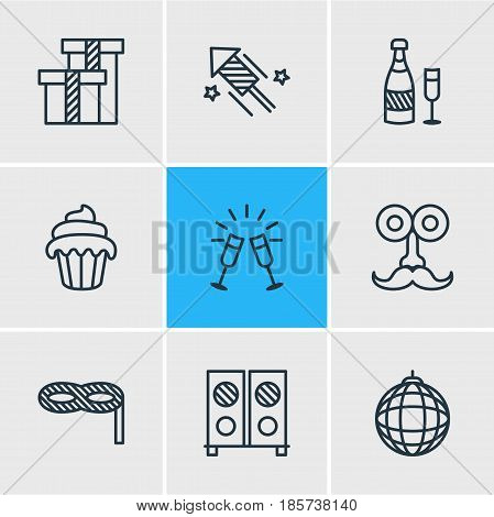 Vector Illustration Of 9 Party Icons. Editable Pack Of Cupcake, Speaker, Fizz And Other Elements.