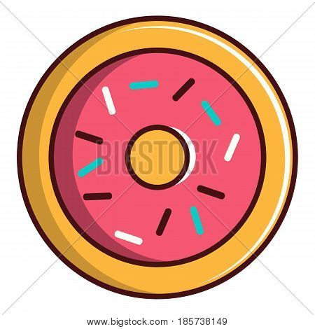 Pink glazed donut icon. Cartoon illustration of pink glazed donut vector icon for web