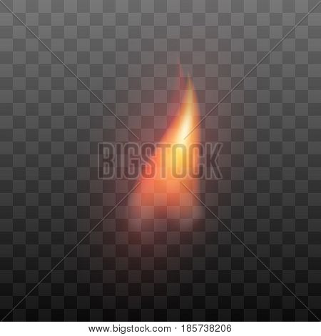 Realistic transparent flame effect. Fiery, burn graphic design element. Vector fire illustration isolated on black background