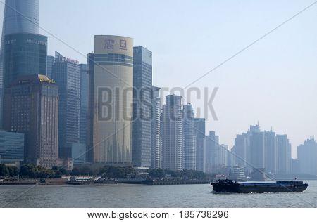 SHANGHAI, CHINA - FEBRUARY 29: Shanghai city at morning in foggy day in Shanghai, China on February 29, 2016.