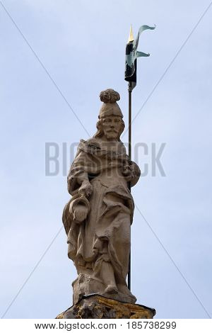 MARIBOR, SLOVENIA - APRIL 03: Saint Florian statue in Maribor Slovenia, Europe. Historical religious sculpture, April 03, 2016.