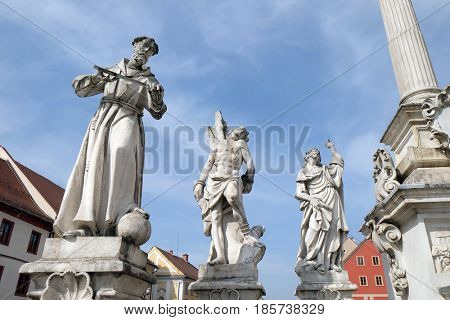 MARIBOR, SLOVENIA - APRIL 03: Saints Francis of Assisi, Sebastian and James statue, Plague column at Main Square of the city of Maribor in Slovenia, April 03, 2016.